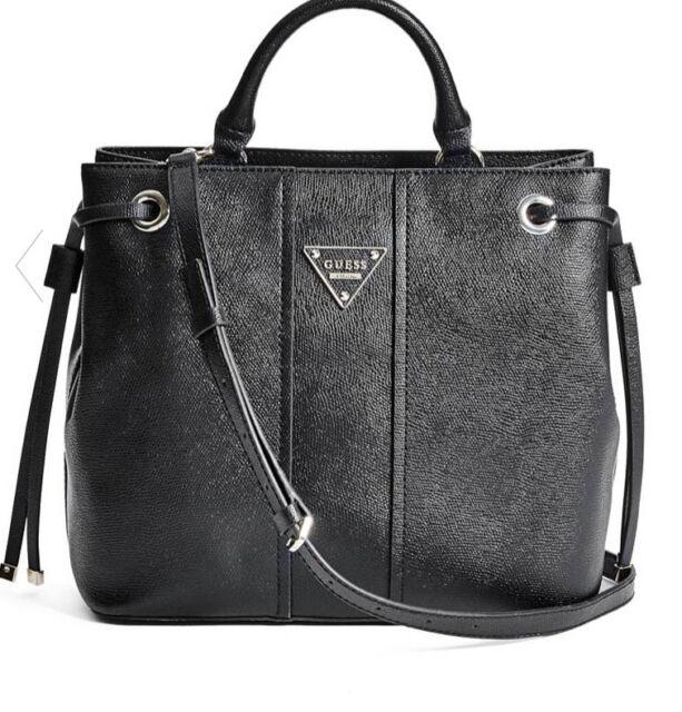 GUESS Luxury Handbag Ladies Cooper Black Satchel DESIGNER Bag ...