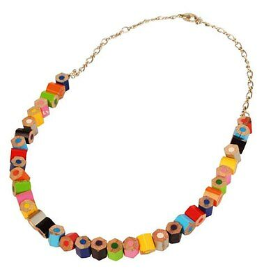 Recycled Pencil Crayon Necklace Multi-coloured Handmade Eco Jewellery India