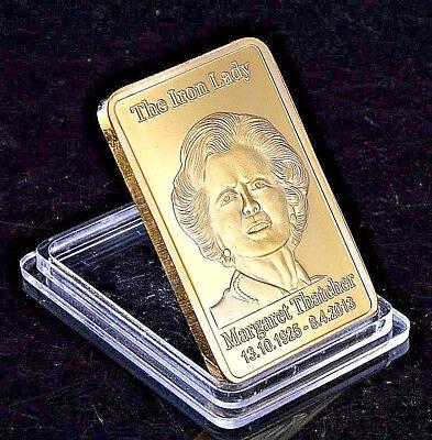 Margaret Thatcher Gold Bar Union Jack Ingot Crown Iron Lady Great Britian Brexit