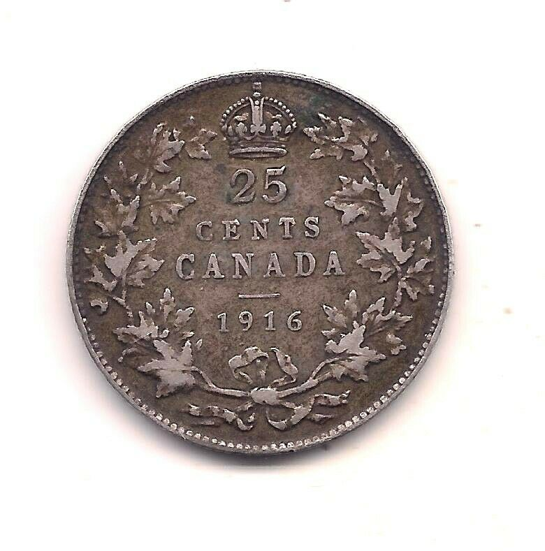1916 Canada Silver Twenty-five Cent-- Full Crown  - $7.00