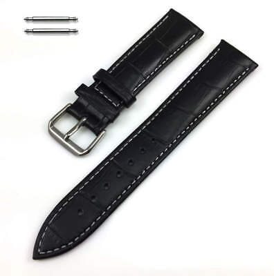 Black Croco Leather Replacement Watch Band Strap White Stitching SS Buckle -