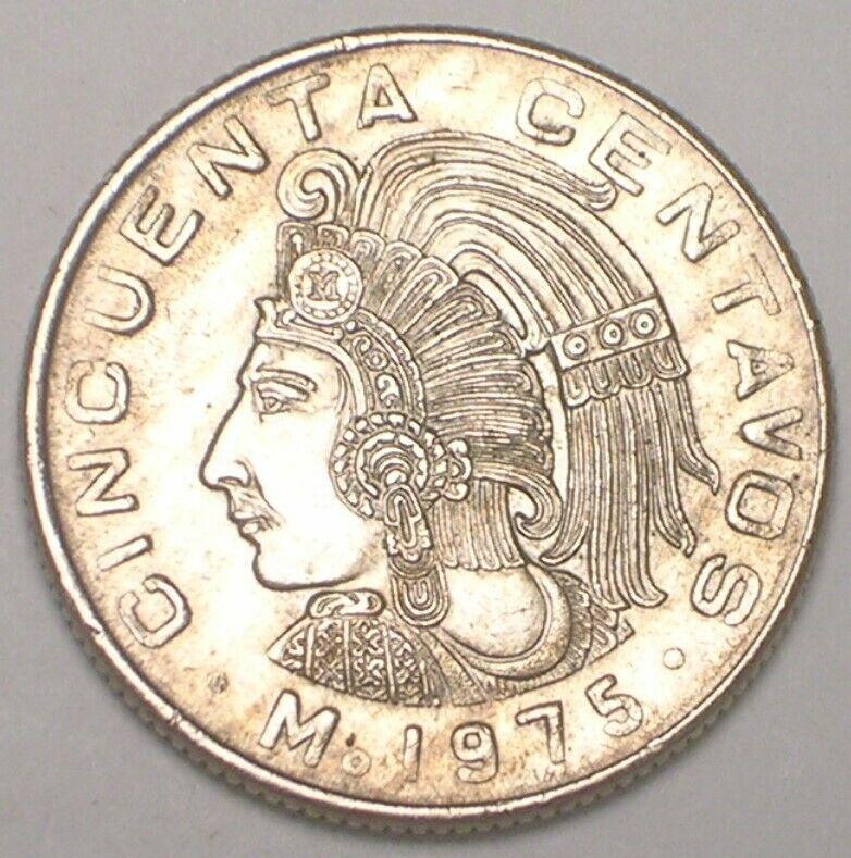 1975 Mexico Mexican 50 Centavos Cuauhtemoc Coin VF+