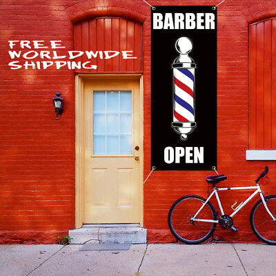 Barber Open Banner Vinyl Advertising Sign Flag Haircuts Salon Walk-ins Shop