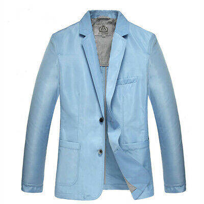 Summer Men Coats Two Button Notched Collar Solid 3/4 Sleeve Casual Blazer Jacket