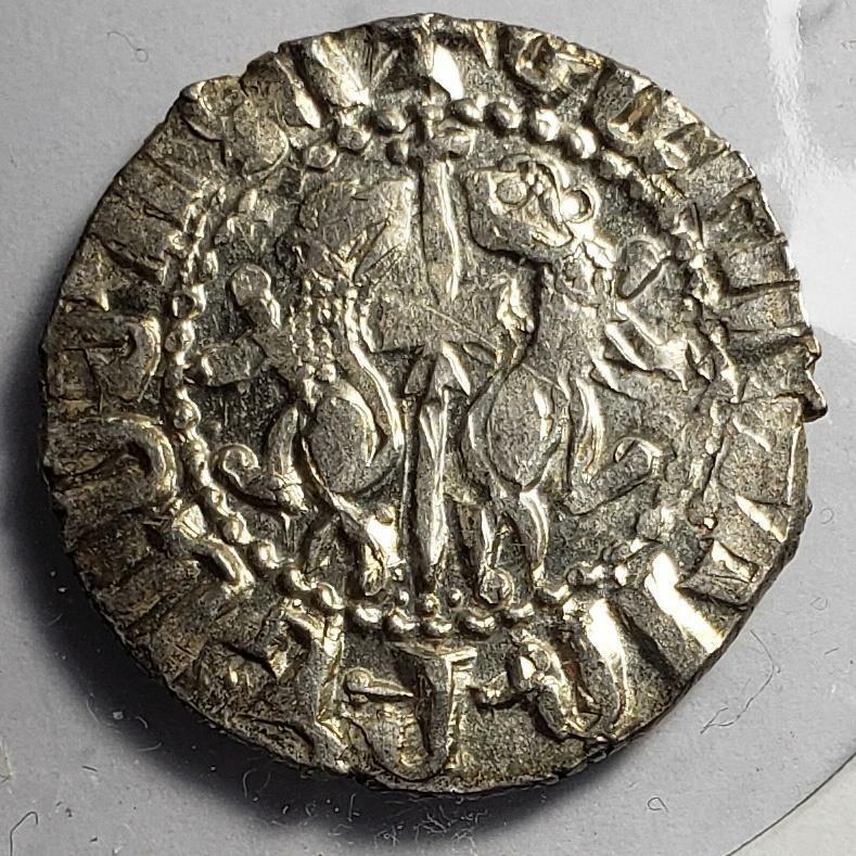 Armenia (Cilici) 1198-1219 Levon I Cross-Lions Silver Tram About Unc (A712)
