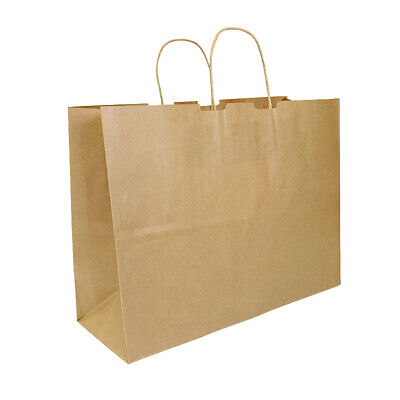 15.75 X 5.8 X 11.75 Brown Premium Kraft Paper Shopping Bag With Twisted Handles