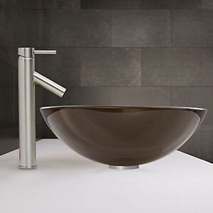 Two glass vessel sinks in sheer sepia & Dior faucets- brand new Prince George British Columbia image 2