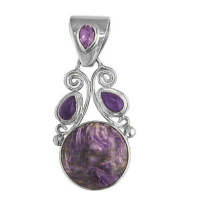 Offerings Sajen 925 Sterling Silver Charoite and Amethyst Pendant