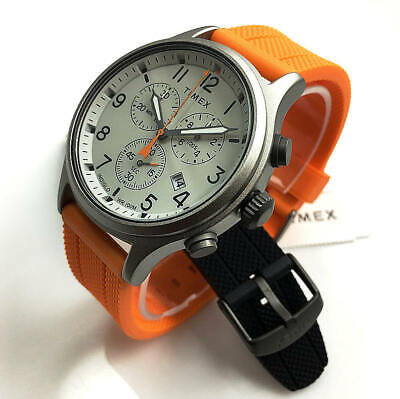 Men s Timex Expedition Field Classic Orange Black Band Watch Set TWG018000 - $97.61