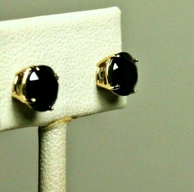 14k solid yellow gold 6mm faceted natural Black Onyx stud screw back earrings