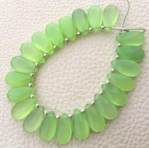 Prehnite Green Chalcedony Gemstone Beads Smooth Pear Briolettes 15x7 MM 5 Pairs