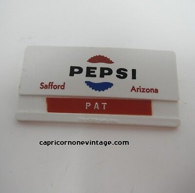 Vintage Pepsi Name Tag Name Badge 1960s Pepsi Cola Safford Arizona PAT