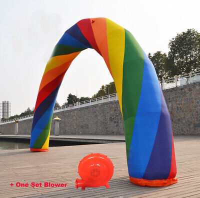 39.4 X 16.4 Foot Inflatable Rainbow Advertising Arch with 370W Air Blower