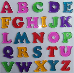 Jelly gel window glass decoration stickers letters heart for Stick on letters for glass