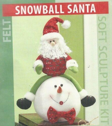 "SNOWBALL SANTA--Christmas--15"" Tall Stuffed Santa--Soft Sculpture Felt Kit"