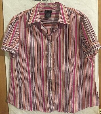 Ladies Multi Colored Striped Blouse Size XL By George