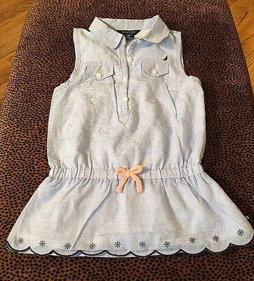Nautica Little Girl's Toddler Denim Ruffle Shirtdress Voile Top Size 4T Bow