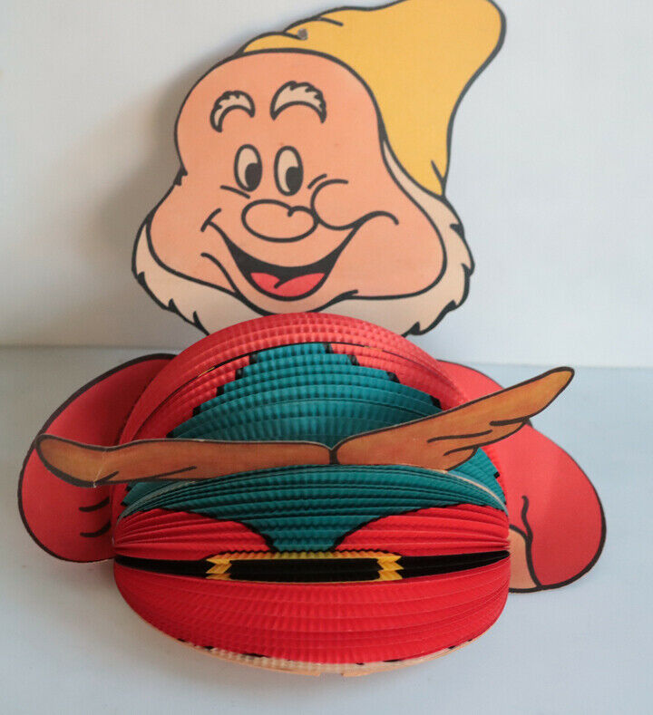 Vintage Dwarf HAPPY ON BALL Sign Disney Productions 2 Sided West Germany