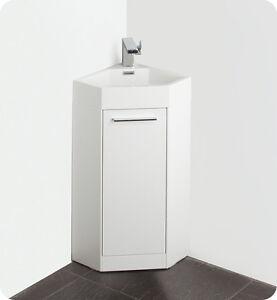 fresca fvn5082wh 14 white corner bathroom vanity cabinet sink faucet