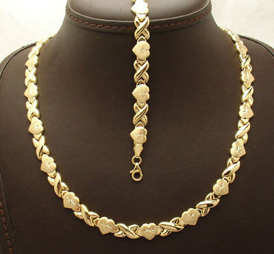 Diamond Cut Hearts & Kisses Bracelet Necklace Set 10K Yellow Gold Clad Silver