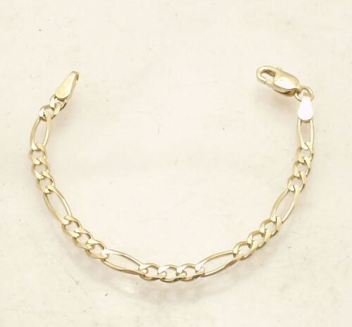 3mm Solid Figaro Chain Necklace Bracelet Extender Extension Real 14K Yellow Gold