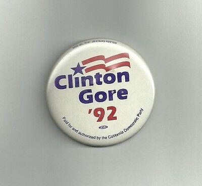 Bill Clinton campaign button 92