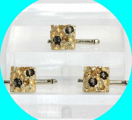 1.70CT! Vintage Black star sapphire nugget tuxedo studs 14K YG 13.9GM 3 pc set