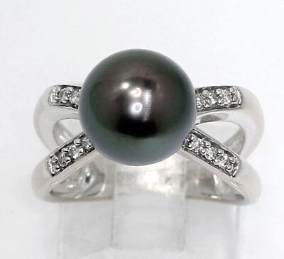 Diamond Tahitian pearl ring 18K white gold GVS round brilliant 10MM .15CT sz5.75 18k Tahitian Pearl Ring