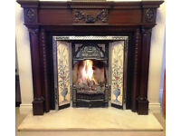 Period style fireplace surround, insert & marble hearth