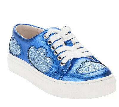 Minna Parikka Girls 1Y 32 Blue Metallic Cloud Leather Shoes Low Tops Sneakers