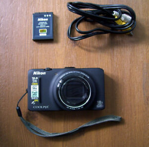 Black Nikon CoolPix S9300 16MP with GPS – As Is