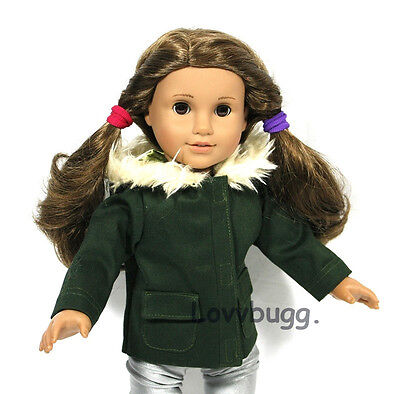 "Lovvbugg Windy City Dark Green Jacket Coat for 18"" American Girl Doll Clothes"
