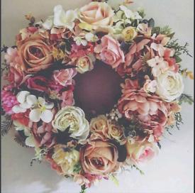 Artificial flower door wreaths