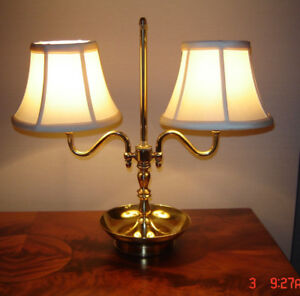 Beautiful Antique Solid Brass Double Armed Desk/Table Lamp