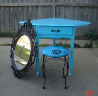 FRENCH PROVINCIAL 3 PIECE CORNER VANITY SET - TURQUOISE BLUE
