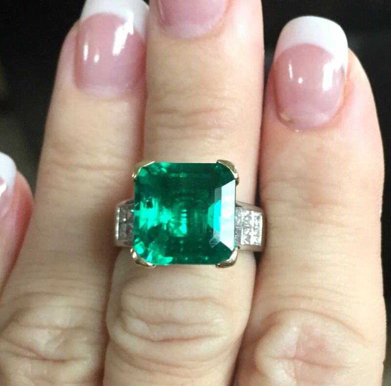 Platinum 5.75tcw Rare VS1 Colombian Emerald VS1 Diamond Ring Oiled Only 10.45g