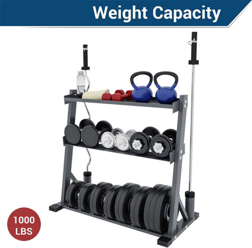 Compact Heavy Duty Dumbbell Storage Rack For Home Gym Barbell Hold up to 1000lbs