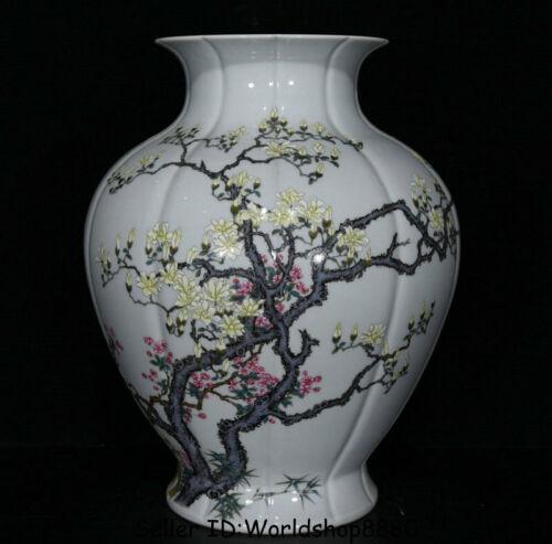 "12.8""Yongzheng Marked Old China Dynasty Famile Rose Porcelain Flower Bottle Vase"