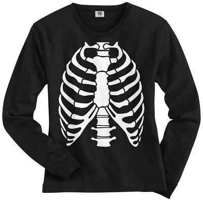 Skeleton Rib Cage Halloween Costume Women's Long Sleeve T-Shirt