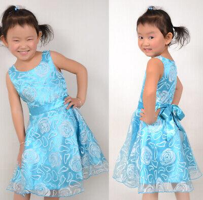 Mädchen Kleid Blau Rose Hochzeit Festzug Kids Boutique Gr. 98-146 ()