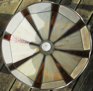 """Antique Currier & Ives Ceiling Lamp Stain Glass Shade Dia. 20.5"""" Stratford Kitchener Area image 3"""