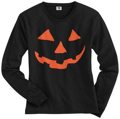 Face Pumpkin Halloween (Orange Halloween Pumpkin Face Women's Long Sleeve T-Shirt)