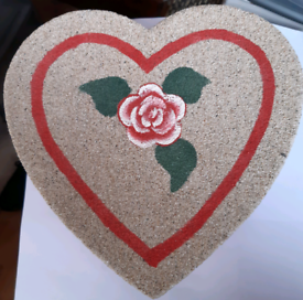 hand painted sand heart shaped box
