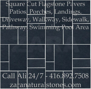 Kota Black Square Cut Flagstone Indian Stone Patio Flagstone Lim