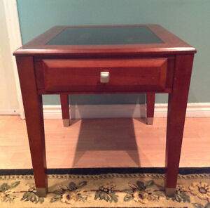 Wooden end table with slate inlay