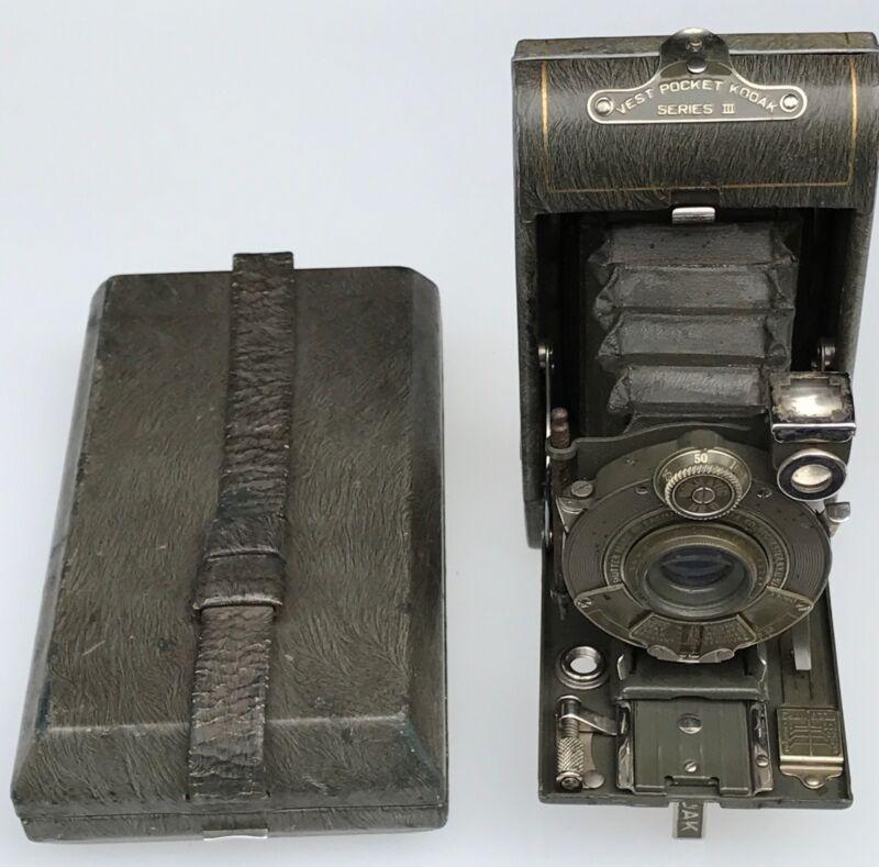 vest pocket kodak Series III Gray Green Camera Nice Pinstripes