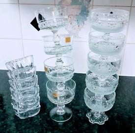 Glass dessert ware sets (sets sold seperatly)