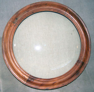 Round wood and glass Shadowbox Antique-like frames