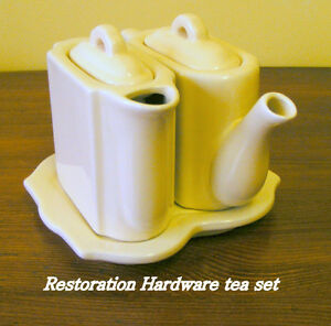 Restoration Hardware, unique ceramic teapot/creamer/tray set