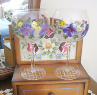 WINE GLASSES / GOBLETS - Pansy Flowers - Hand Painted